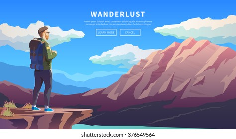 Web vector  illustration on the theme of Climbing, Trekking, Hiking, Walking. Sports, outdoor recreation, adventures in nature, vacation. Wanderlust. Downshifting. Modern flat design. #2
