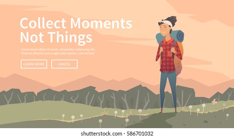 Web vector  illustration on the theme of Climbing, Trekking, Hiking, Walking. Sports, outdoor recreation, adventures in nature, vacation. Wanderlust. Downshifting. The girl looks into the distance.