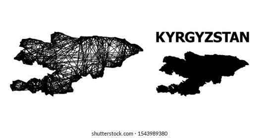 Web vector map of Kyrgyzstan. Wire carcass flat network in vector format, geographic model for political designs. map of Kyrgyzstan are isolated on a white background.