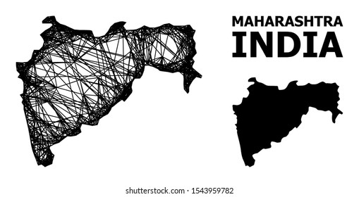 Web vector map of Maharashtra State. Wire carcass 2D mesh in vector EPS format, geographic template for economical purposes. map of Maharashtra State are isolated on a white background.