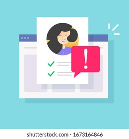 Web warning caution notification on personal profile fake account or fraud website user risk alert notice vector flat cartoon, illustration internet person id and safety danger message modern design
