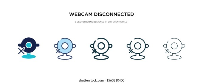 webcam disconnected icon in different style vector illustration. two colored and black webcam disconnected vector icons designed in filled, outline, line and stroke style can be used for web,