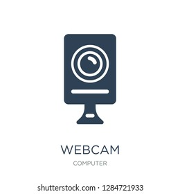 webcam disconnected icon vector on white background, webcam disconnected trendy filled icons from Computer collection, webcam disconnected vector illustration