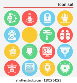 Webcam, drone, shopping cart, robot, paint roller, backpack, shield, smartwatch, binoculars icon set suitable for info graphics, websites and print media and interfaces