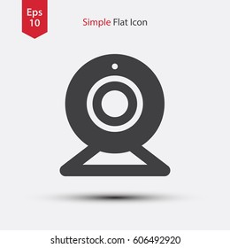 Webcam Flat Icon. Simple Sign Of Technology. Vector Illustrated Symbol