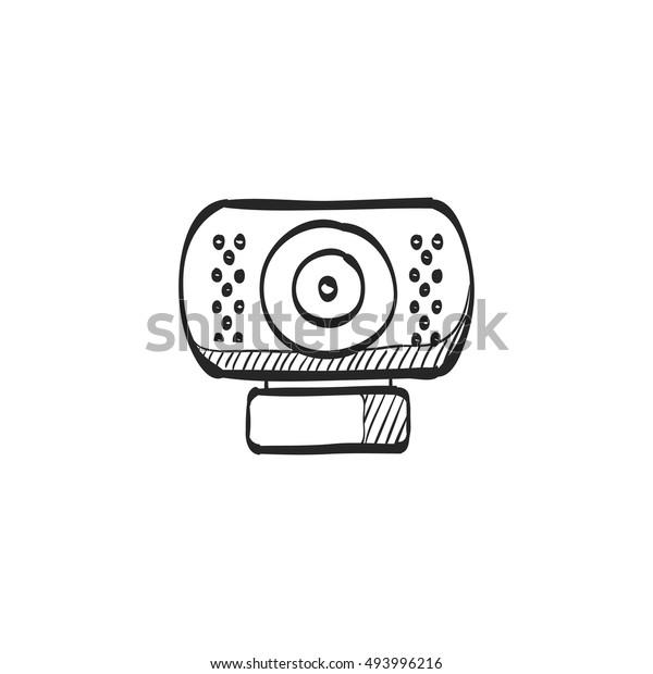 Webcam Icon Doodle Sketch Lines Computer Stock Vector Royalty Free 493996216