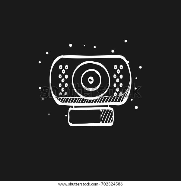 Webcam Icon Doodle Sketch Lines Computer Stock Vector Royalty Free 702324586