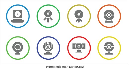 webcam icon set. 8 filled webcam icons.  Simple modern icons about  - Webcam, Web cam