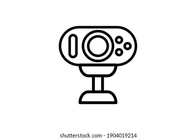 Webcam icon. Vector linear sign, symbol, logo of web camera for mobile concept and web design. Icon for the website of the store of household appliances, gadgets and electronics.