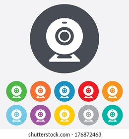 Webcam sign icon. Web video chat symbol. Camera chat. Round colourful 11 buttons. Vector
