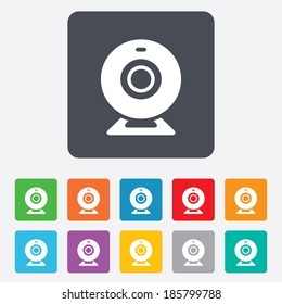 Webcam sign icon. Web video chat symbol. Camera chat. Rounded squares 11 buttons. Vector