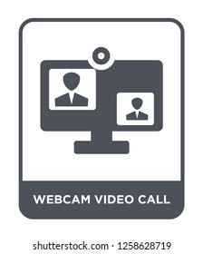webcam video call icon vector on white background, webcam video call trendy filled icons from Music and media collection, webcam video call simple element illustration
