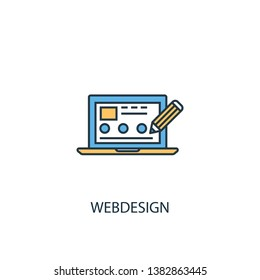 Webdesign concept 2 colored line icon. Simple yellow and blue element illustration. Webdesign concept outline symbol design