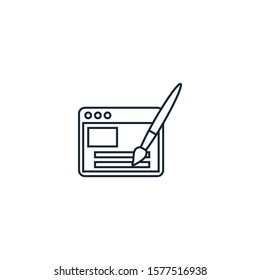 Webdesign creative icon. line multicolored illustration. From SEO icons collection. Isolated Webdesign sign on white background.