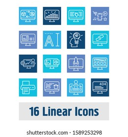 Webdesign icon set and mobile app with back-end development, website traffic and link. Problem related webdesign icon vector for web UI logo design.