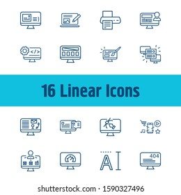 Webdesign icon set and mobile app with hosting, contact page and digital graphic. Connection related webdesign icon vector for web UI logo design.