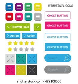 Webdesign icons, hamburger menu, ghost buttons, download, call to action, search bar, enlarge button, rating stars