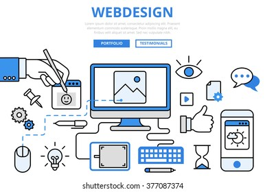 Webdesign website design GUI user interface wireframe prototype frontend development internet concept flat line art vector icons. Modern infographics illustration hero image web banner material.