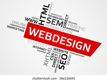 WEBDESIGN word cloud, tag cloud, vector graphics - business and internet concept