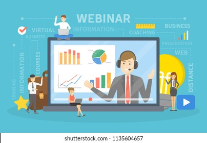 Webinar concept. Idea of online education. Communication with professional through the internet. Video conference or lecture. Flat vector illustration