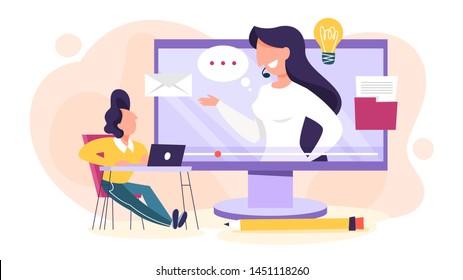 Concept Webinaire. Idée de l'éducation en ligne. Communication avec les professionnels via Internet. Vidéo conférence ou conférence. Illustration vectorielle à plat