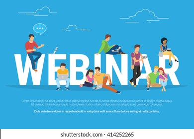 Webinar concept illustration of young people using laptop, tablet and smartphone to watch online webinar or conference with instructor for online education. Flat infographics of people near letters