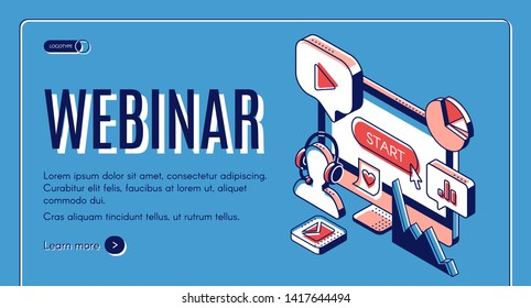 Webinar, conference, video seminar, online education banner. Interactive learning background with computer monitor, internet technology icons. Isometric 3d vector illustration, line art, landing page