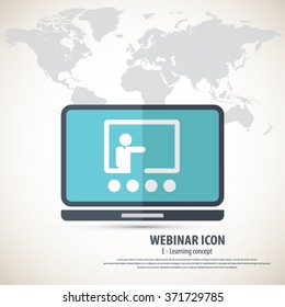 Webinar icon with detailed world map background