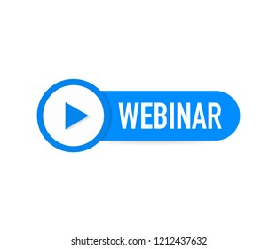 Webinar Icon, flat design style with blue play button. Vector stock illustration.
