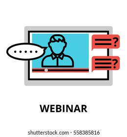 Webinar icon, flat thin line vector illustration, for graphic and web design.