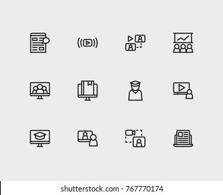 Webinar icons set with content e-material, digital blog and development training elements. Set of webinar icons also including watch movie sign for your web app logo UI design.