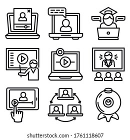 Webinar icons set. Outline set of webinar vector icons for web design isolated on white background