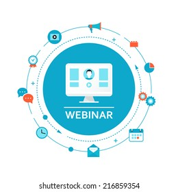 Webinar Illustration. Online Education and Training. Distance Learning.