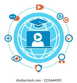 Webinar label. Webcasts and webinars livestream training and coach course recording technology vector emblem