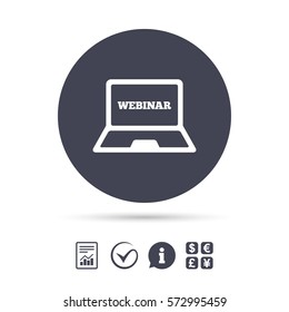 Webinar laptop sign icon. Notebook Web study symbol. Website e-learning navigation. Report document, information and check tick icons. Currency exchange. Vector