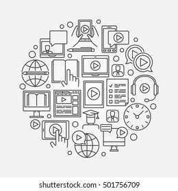 Webinar linear illustration. Vector round online education symbol made with thin line icons. Minimal e-learning concept sign