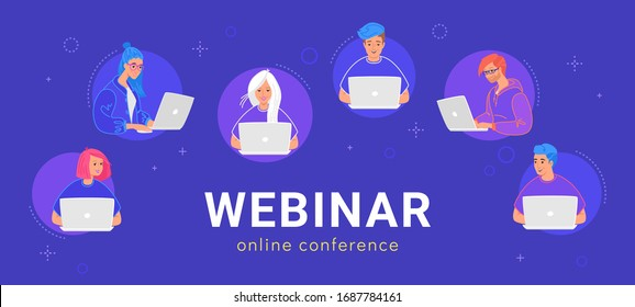 Webinar online conference. Concept flat vector illustration of young various teenagers using laptop for remote learning and working online. Group of young people staying at home and working remotely