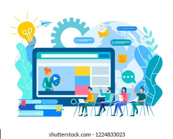 Webinar and online education courses, the teacher teaches a group of students online. Vector illustration.