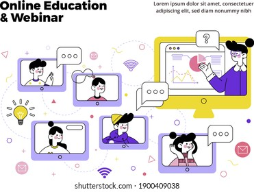 Webinar, Online Education Social Media Design for Business, Education purpose- modern colorful vector design template-layout-easy to Edit-multiple students connected with the teacher-yellow-purple