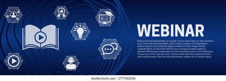 Webinar Online Learning Banner Background with Icons
