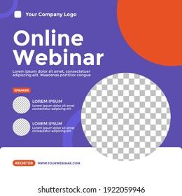 Webinar Poster Design. Good for Social Media Post Template, Webinar, Seminar, Invitation Banner, Poster Education, Flyer, Online Class, Ads, etc