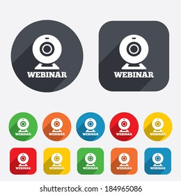 Webinar web camera sign icon. Online Web study symbol. Website e-learning navigation. Circles and rounded squares 12 buttons. Vector