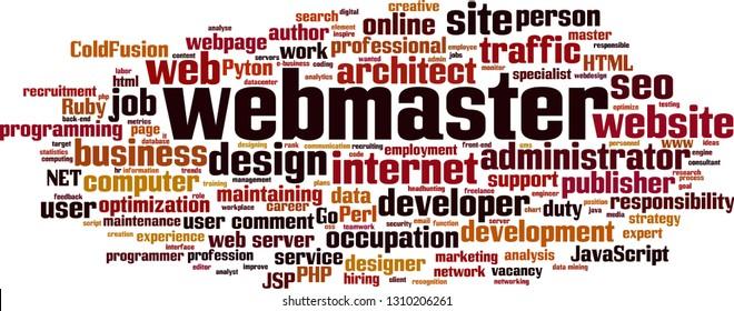 Webmaster word cloud concept. Vector illustration