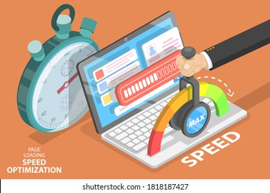 Webpage Loading Time Decreasing, Website Speed Optimization and SEO. 3D Isometric Flat Vector Conceptual Illustration.