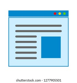 webpage text lines icon - webpage text lines isolated, website interface illustration - Vector website