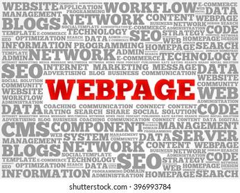 Webpage word cloud, business concept