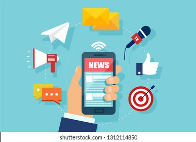 WebReading news on mobile device concept. Vector of a hand holding smartphone with news website.