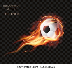 WebRealistic vector soccer ball on fire and  logo for football club, badge template