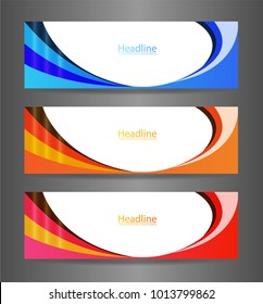 WebSet three colorful abstract modern banner texture. Vector banner background for web banner design