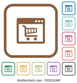 Webshop application simple icons in color rounded square frames on white background